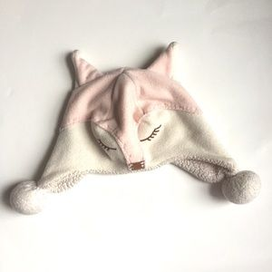 Baby Gap girl fox animal pink & white winter hat
